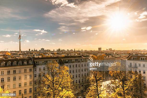 colorful sunny berlin cityscape seen from tower of the zionskirche - central berlin stock photos and pictures