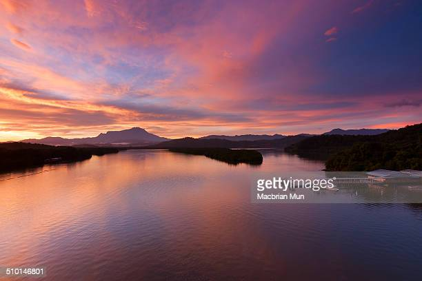 Colorful sunrise at Mengkabong river, Borneo