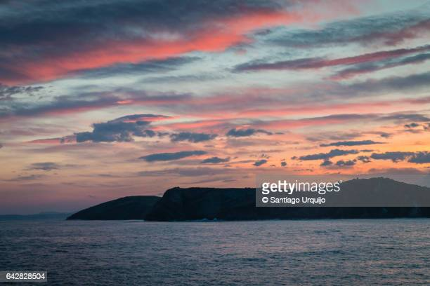 Colorful sunrise in Cantabrian coastline