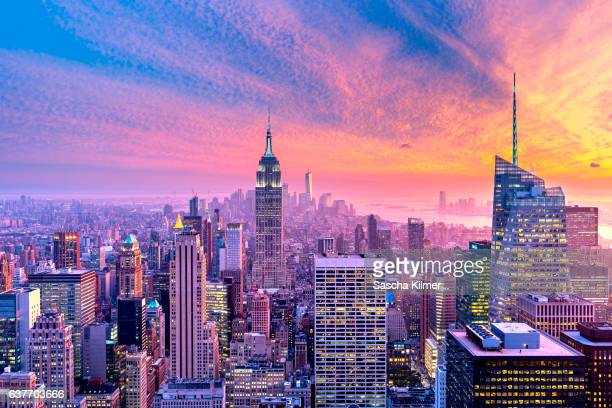 Colorful Sunset above New York City