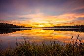 Colorful Sunset At Davis Lake