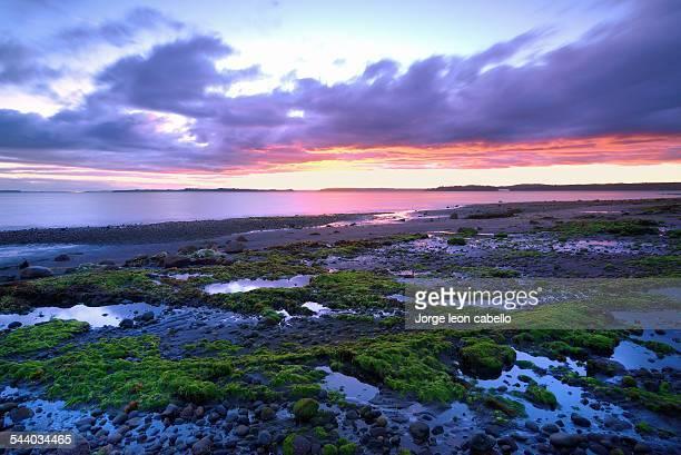 colorful sunset at pelluhuin beach - puerto montt - fotografias e filmes do acervo