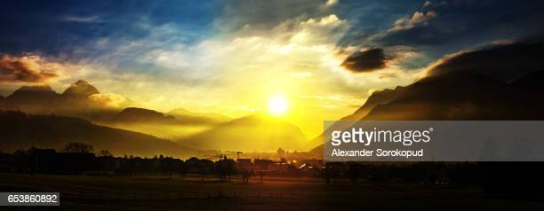 colorful sunset in schwyz. switzerland. wide-angle hd-quality panoramic view. - ハイビジョンテレビ ストックフォトと画像