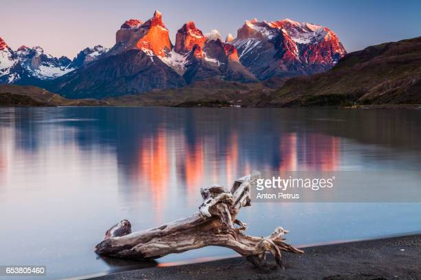 Colorful sunset in Torres del Paine, Chile