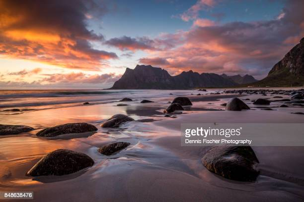 Colorful sunset on Lofoten, Uttakleiv beach