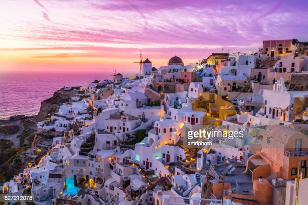 colorful sunset over santorini island - oia santorini stock pictures, royalty-free photos & images
