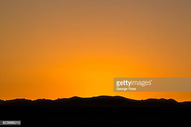 A colorful sunset over the mountains is viewed on November 13 in Santa Ynez California Because of its close proximity to the Southern California and...