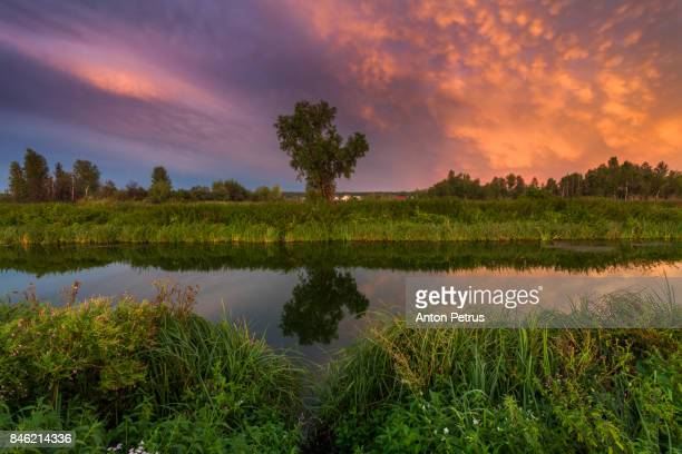 Colorful sunset over the river