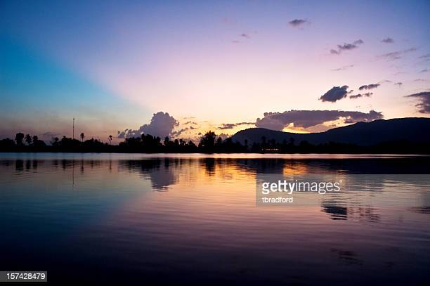 Colorful Sunset Over Water In Kampot, Cambodia