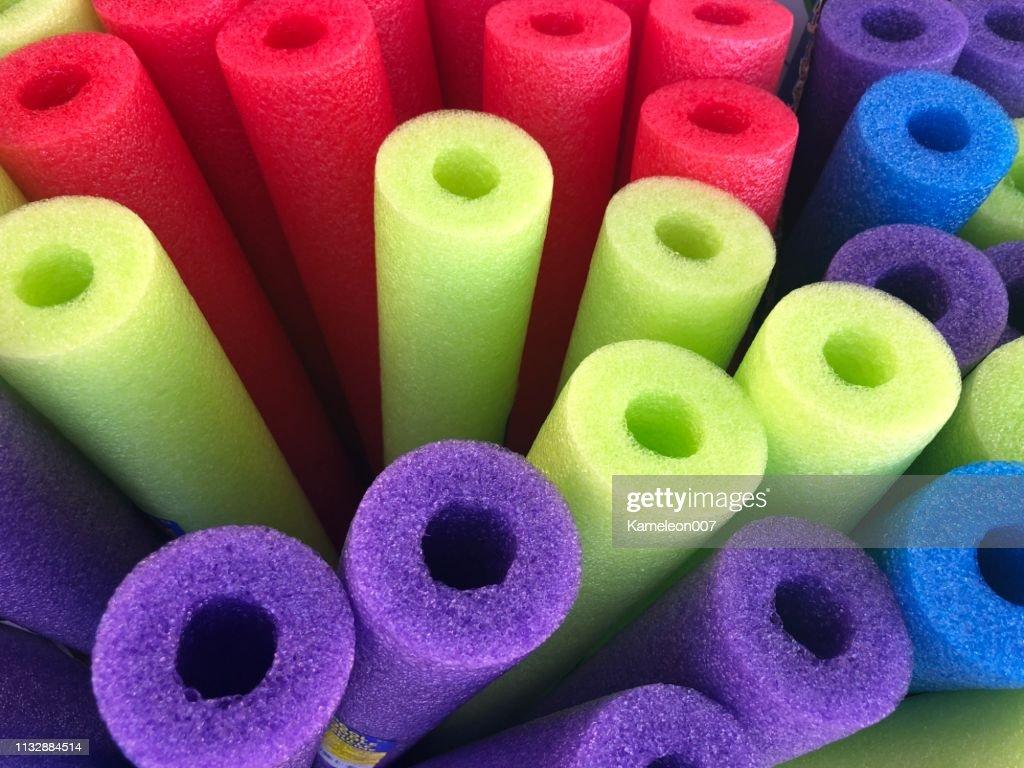 Colorful Swim noodles : Stock Photo
