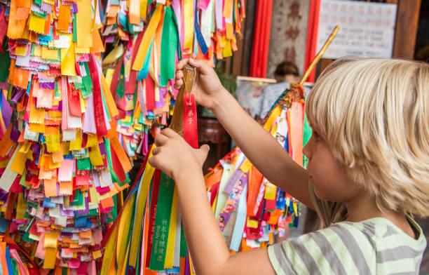 Colorful symbolic praying gifts, Kek Lok Si Buddhist temple Penang, Malaysia