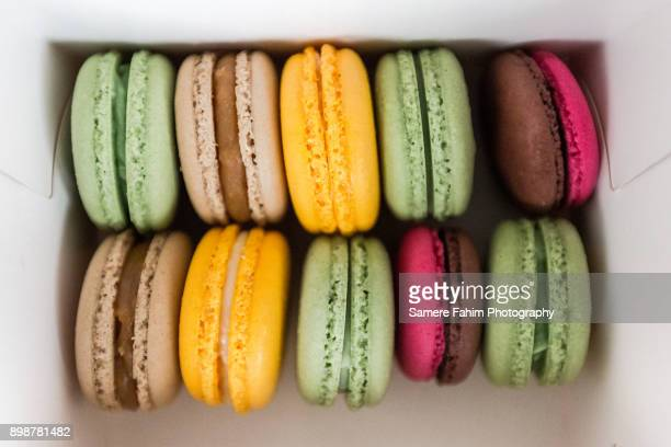 Colorful tasty macaroons in box