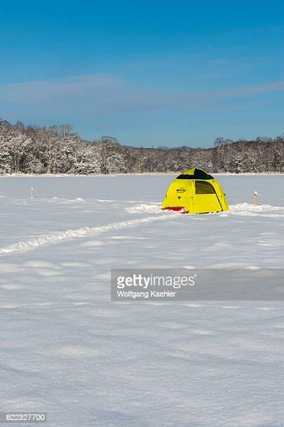 Colorful tent used for ice fishing on frozen Lake Abashiriko near Abashiri a city on Hokkaido Island Japan