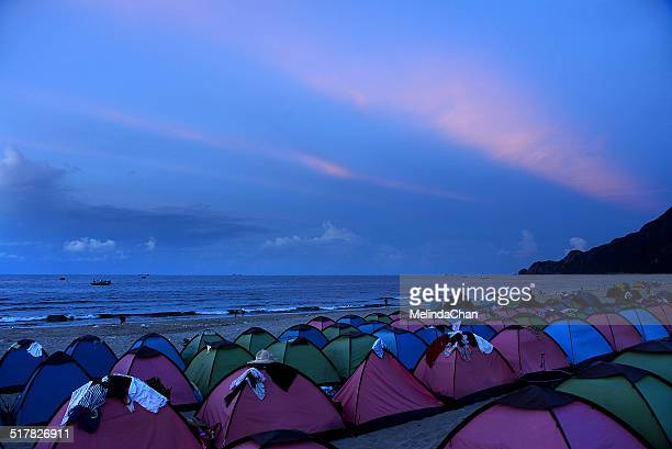 Colorful tents on the beach