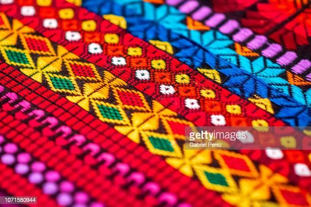 a colorful textile from chiapas, mexico - cultura indígena imagens e fotografias de stock