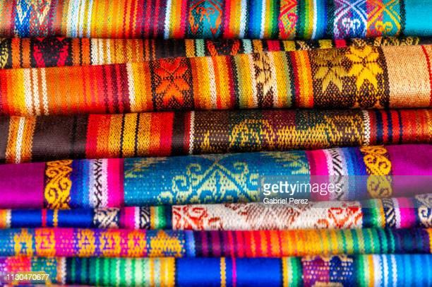colorful textiles from south america - ecuador fotografías e imágenes de stock