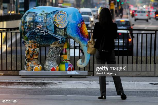 A colorful thematic elephant is being exposed as part of campaign against illegal ivory trade in Paulista avenue in Sao Paulo Brazil on August 1 2017