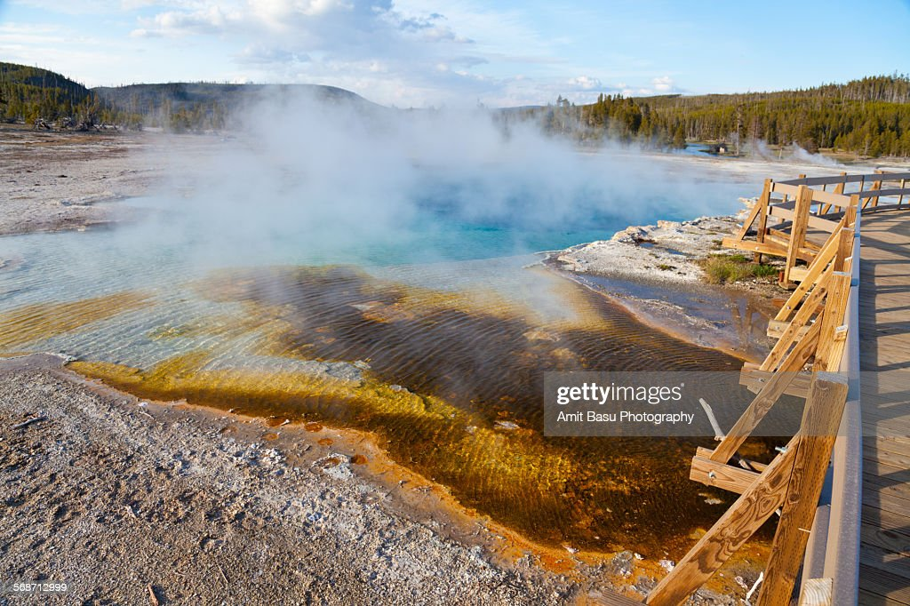 Colorful thermal pool at Yellowstone National Park : Stock Photo