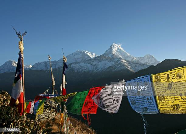 colorful tibetan prayer flags and the annapurna mountains - nepal stock pictures, royalty-free photos & images