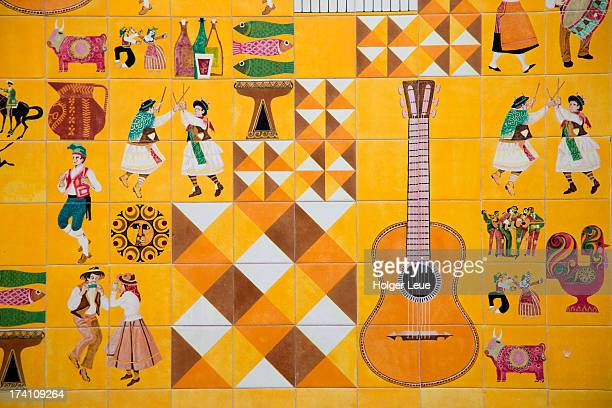Colorful tiles on Adoga Machado Fado wall