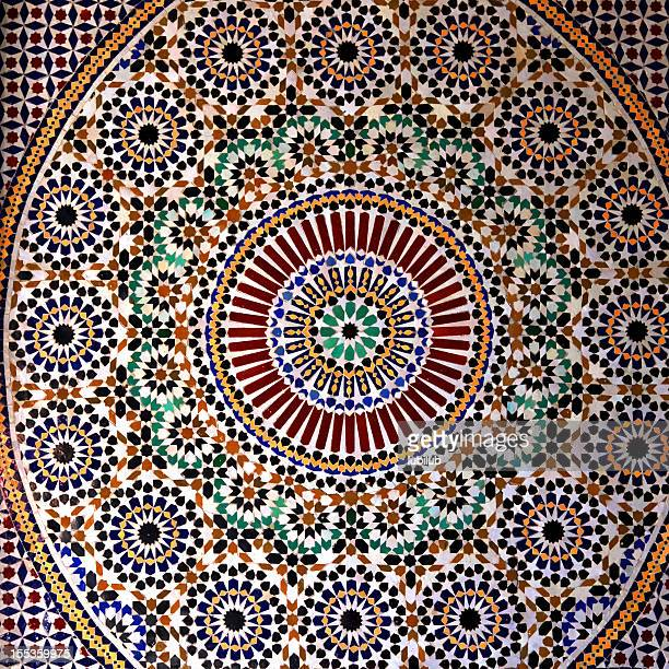 colorful tiles on beautiful fountain in kasbah of taourirt, morocco - kasbah of taourirt stock pictures, royalty-free photos & images
