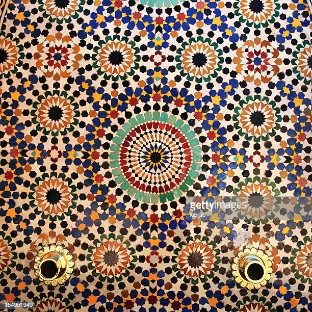 colorful tiles on fountain, mausoleum of mohammed v , rabat, morocco. - moroccan culture stock photos and pictures