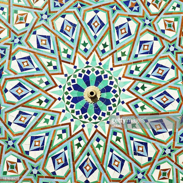 colorful tiles on fountain of mosque hassan ll, casablanca, morocco - mosque hassan ii stock photos and pictures