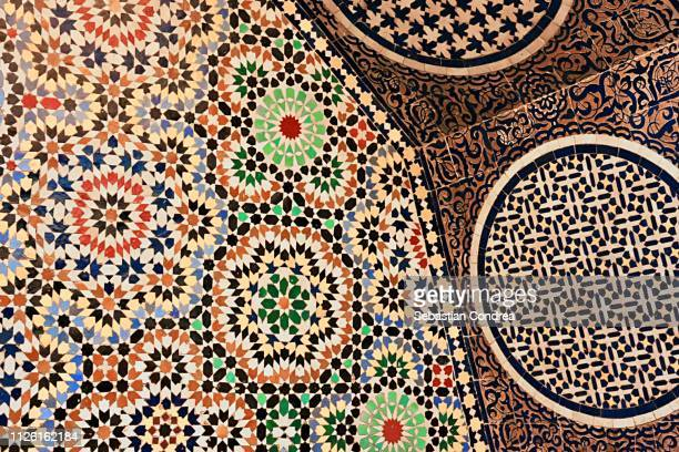Colorful tiles on wall fountain in the Mausoleum of Mohammed V , Rabat, Morocco.Morocco,Africa