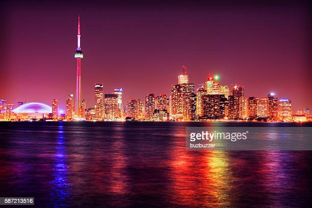 colorful toronto city at night - buzbuzzer stock pictures, royalty-free photos & images