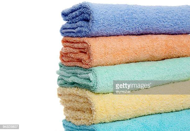 colorful towels - rubbing stock pictures, royalty-free photos & images