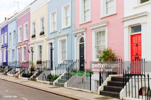 colorful townhouses in london, uk - paradise stock pictures, royalty-free photos & images