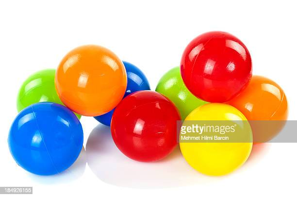 colorful toy balls - sports ball stock pictures, royalty-free photos & images
