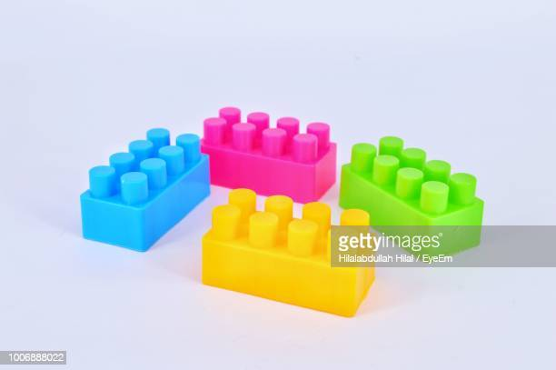 Colorful Toy Blocks Against White Background