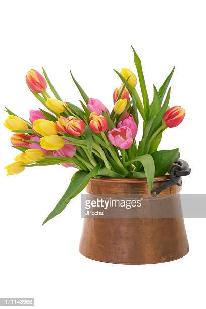 colorful tulips in an antique copper pot - tulips and daffodils stock pictures, royalty-free photos & images