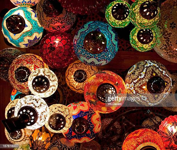 colorful turkish lanterns from the ground view - bazaar stockfoto's en -beelden