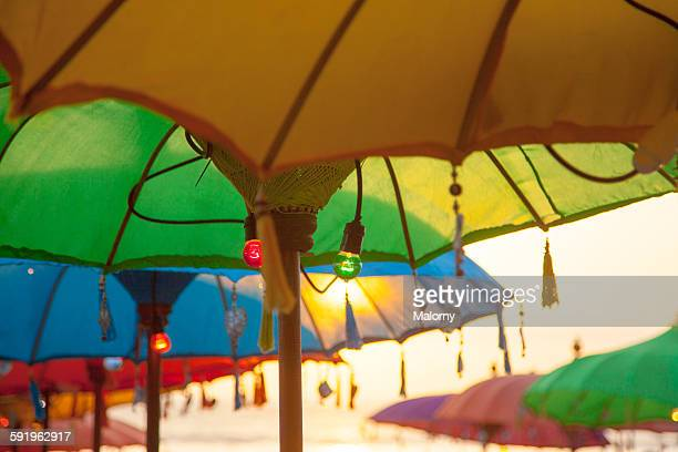 Colorful umbrella, beach bar, Kuta, Bali