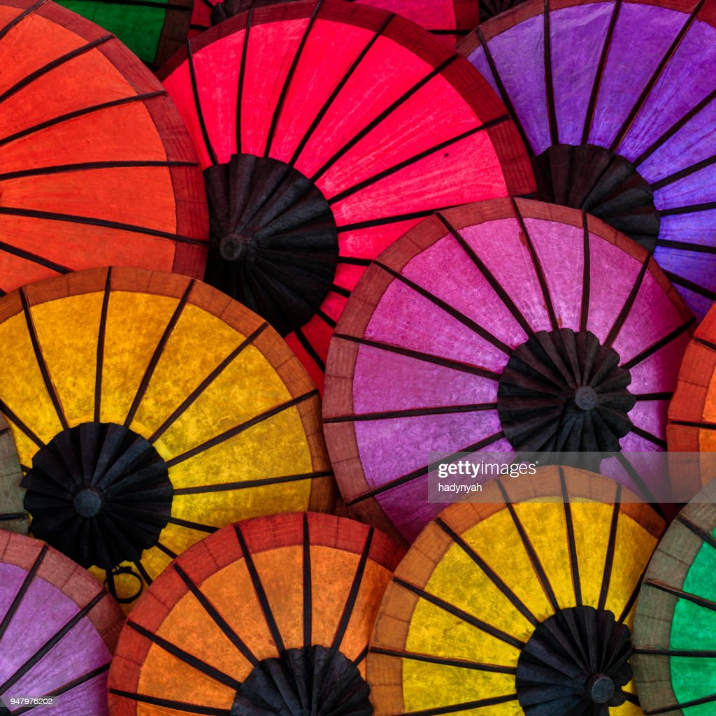 Colorful umbrellas for sale in Luang Prabang, Laos : Stock Photo