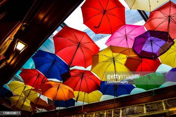 Colorful umbrellas over a building in Ankara, Turkey.