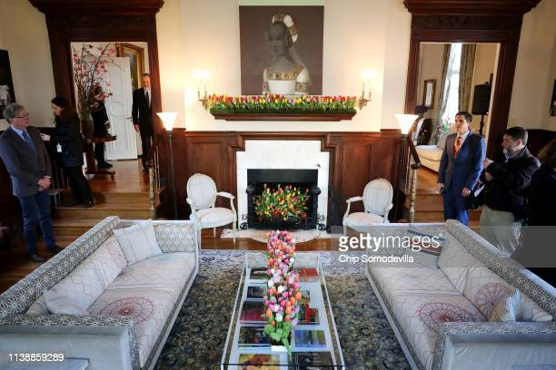 Colorful variety of flowers decorate the Dutch Ambassador's residence during the Tulip Days celebration March 28, 2019 in Washington, DC. 15,000...