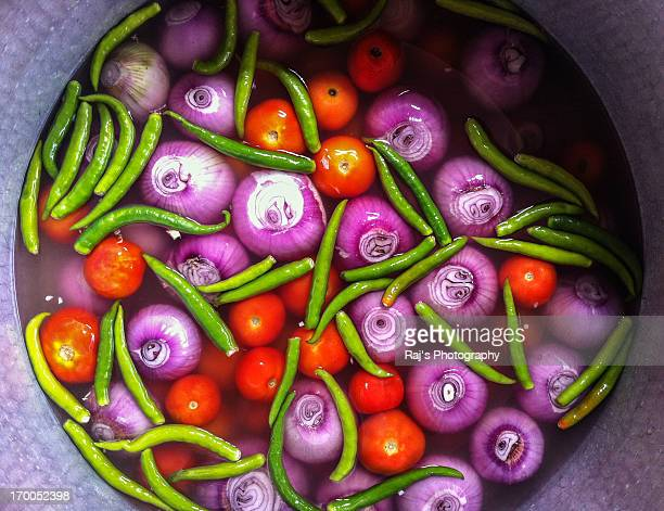 colorful vegetables washed in water