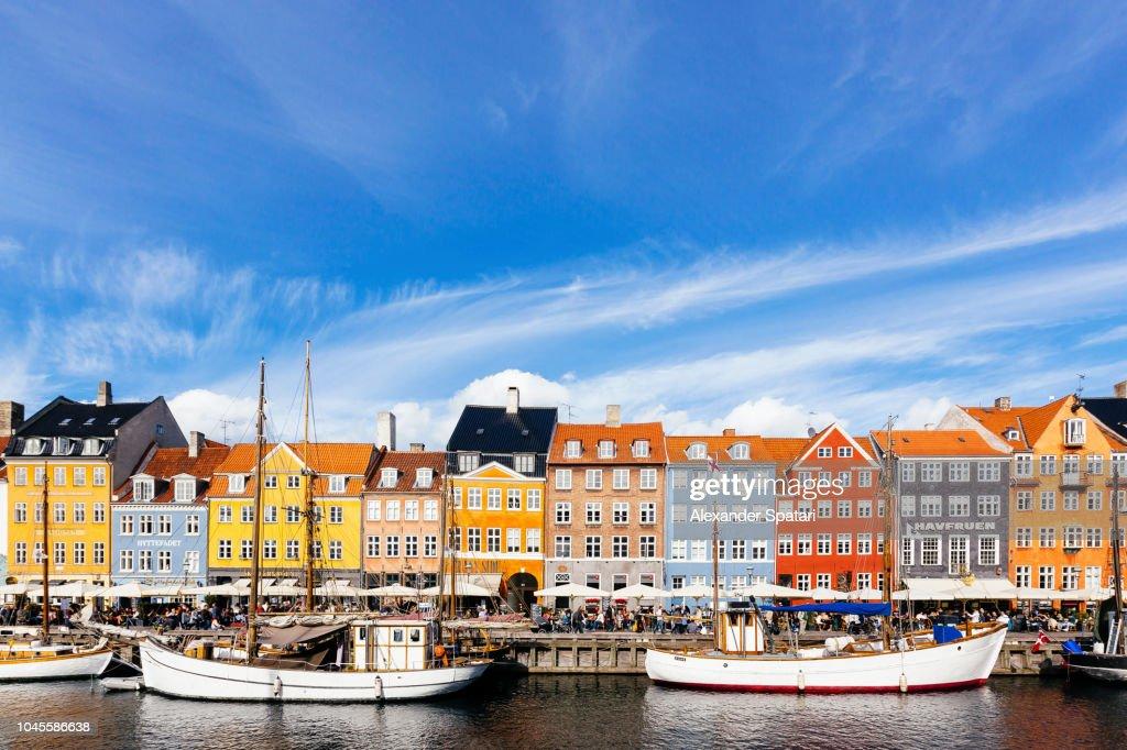 Colorful vibrant houses at Nyhavn harbor in Copenhagen, Denmark : Stock Photo