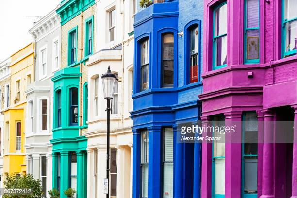 Colorful vibrant houses in Notting Hill, London, UK