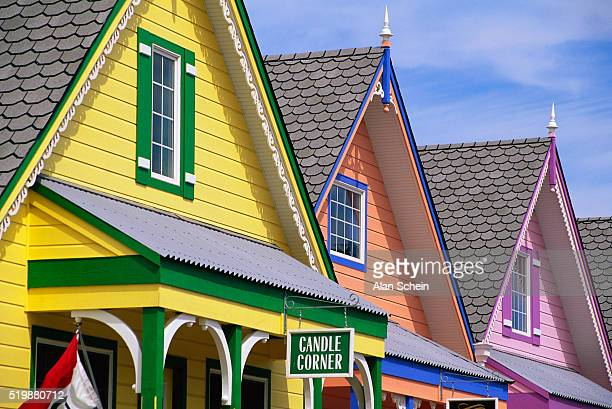 colorful victorian buildings - cape may stock pictures, royalty-free photos & images