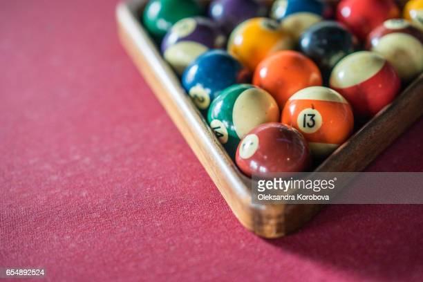 colorful vintage billiard balls - istock stock-fotos und bilder