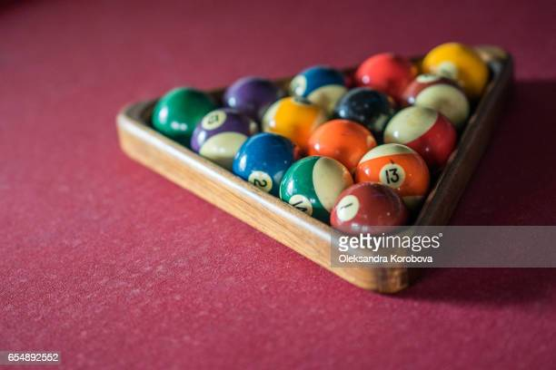 colorful vintage billiard balls - istock photos et images de collection