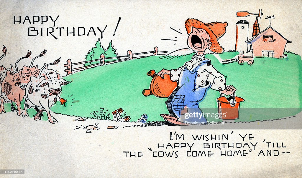 A Colorful Vintage Cartoon Greeting Card Depicts A Farmer And Cows