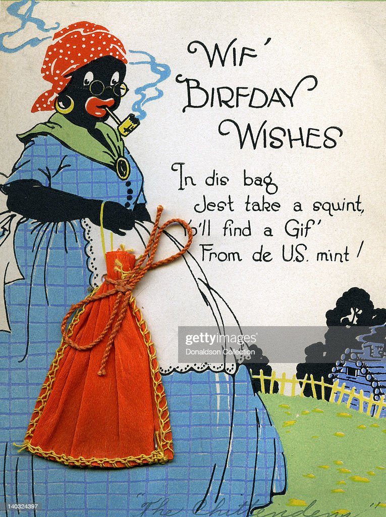 A Colorful Vintage Cartoon Greeting Card Depicts A Racist Caricature