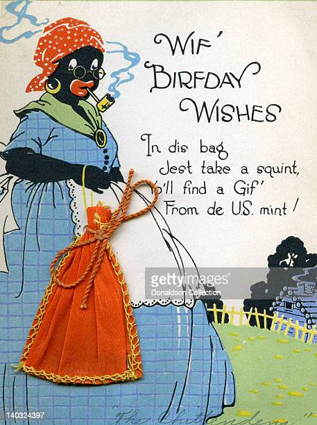 A colorful vintage cartoon greeting card depicts a racist caricature of an AfricanAmerican woman smoking a corn cob pipe and a cloth sack and reads...