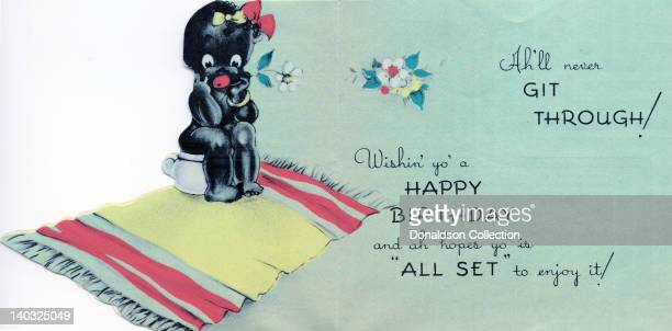 A colorful vintage cartoon greeting card depicts a racist caricature of an AfricanAmerican child sitting on a pot and reads 'Ah'll never git through...