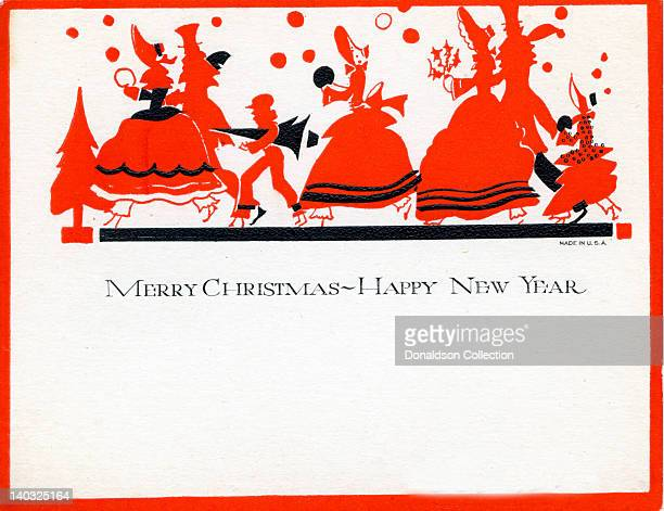 A colorful vintage illustrated greeting card depicts revelers in red and black and reads 'Merry Christmas and Happy New Year'